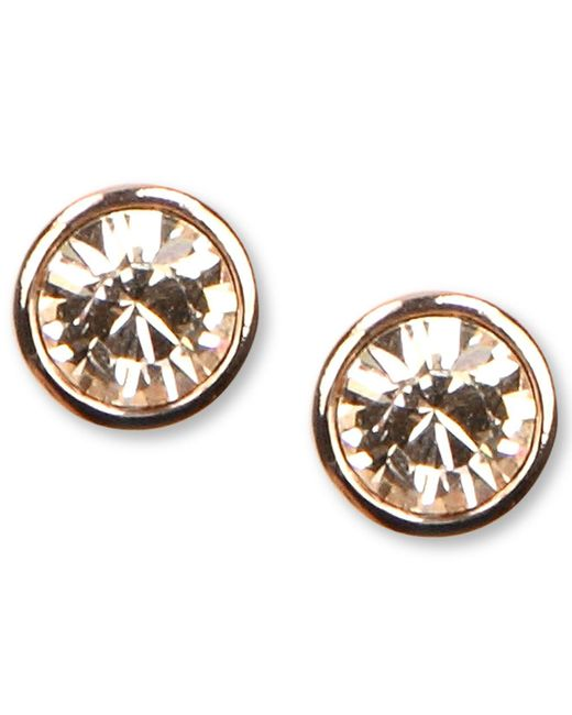 Givenchy | Pink Earrings, Rose Gold-tone Swarovski Element Stud Earrings | Lyst