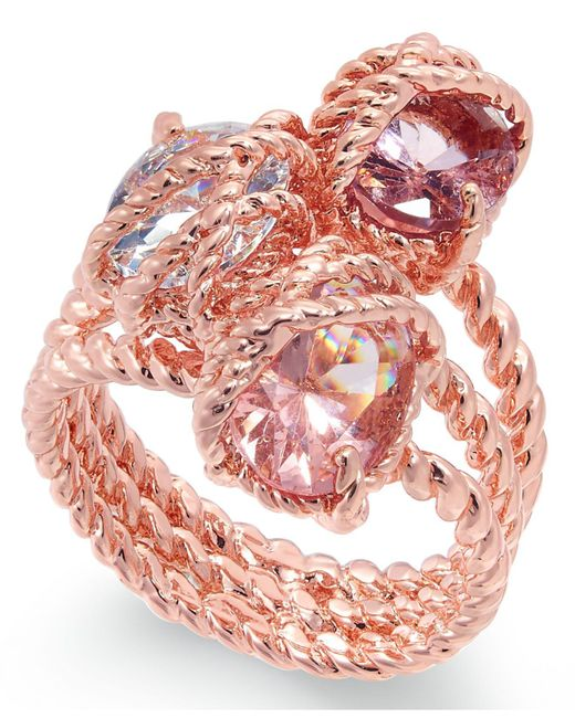 Charter Club - Multicolor Rose Gold-tone Stone Trio Rope Ring - Lyst