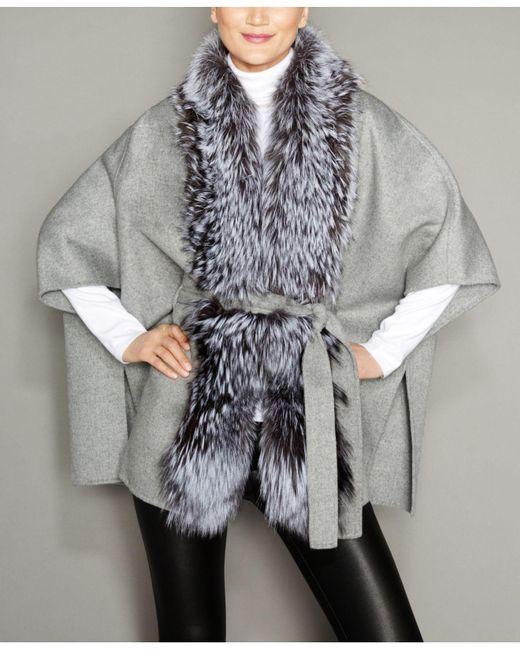 7071e32d539 The Fur Vault - Gray Fox-fur-trim Belted Wool Cape - Lyst ...