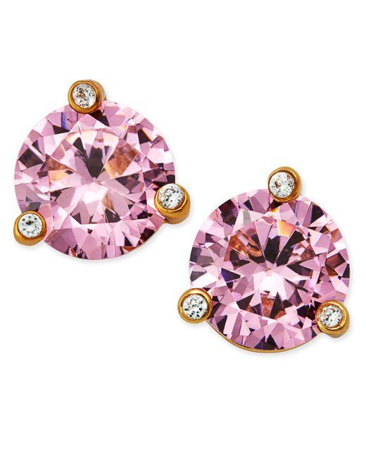 Kate Spade - Gold-tone Pink Crystal Stud Earrings - Lyst