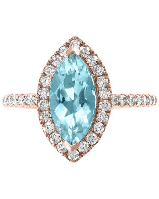 Effy Collection - Blue Effy® Aquamarine (1-1/3 Ct. T.w.) & Diamond (3/8 Ct. T.w.) Ring In 14k Rose Gold - Lyst