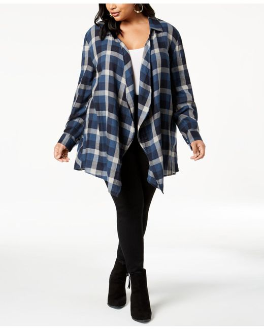 Style & Co. - Multicolor Plus Size Cotton Plaid Peplum-hem Cardigan, Created For Macy's - Lyst