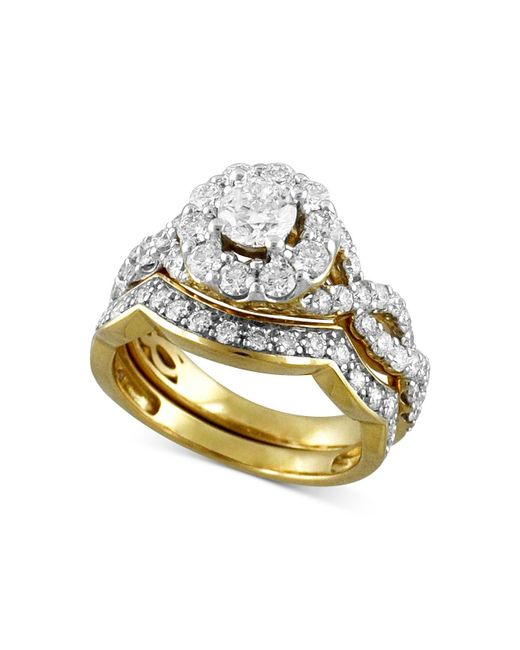Macy's - Metallic Diamond Halo Interlocking Bridal Set (2 Ct. T.w.) In 14k Gold - Lyst