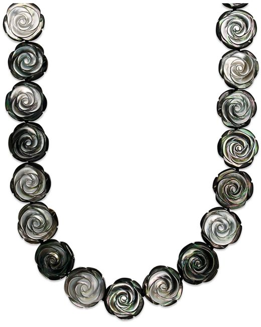 Macy's | Metallic Sterling Silver Necklace, Cultured Tahitian Mother Of Pearl Flower Necklace | Lyst