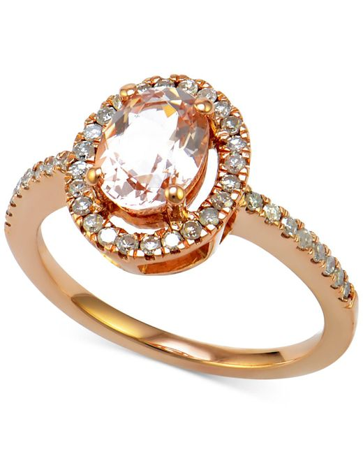 Macy's - Metallic Morganite (7/8 Ct. T.w.) And Diamond (1/4 Ct. T.w.) Halo-style Ring In 14k Rose Gold - Lyst