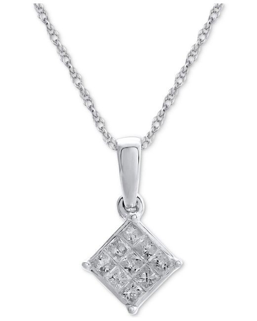 Macy's - Metallic Diamond Cluster Pendant Necklace (1/7 Ct. T.w.) In 14k White Gold - Lyst