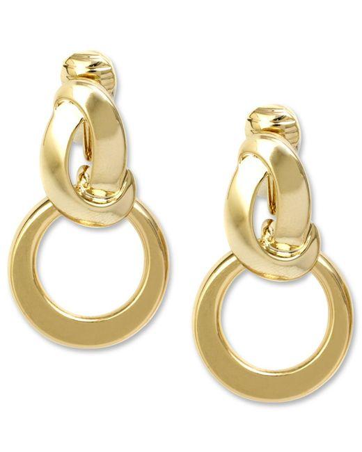 Anne Klein | Metallic Earrings, Twisted Hoop Clip On Earrings | Lyst