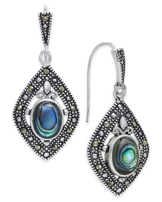 Macy's - Metallic Marcasite And Paua Shell Drop Earrings In Silver-plate - Lyst