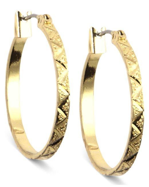 Anne Klein   Metallic Gold-tone Small Hoop Earrings   Lyst