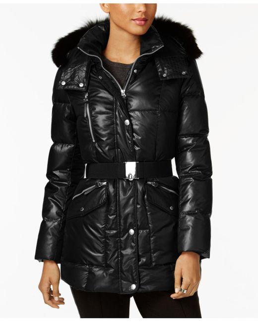 Andrew Marc - Black Coyote-fur-trim Hooded Puffer Coat - Lyst