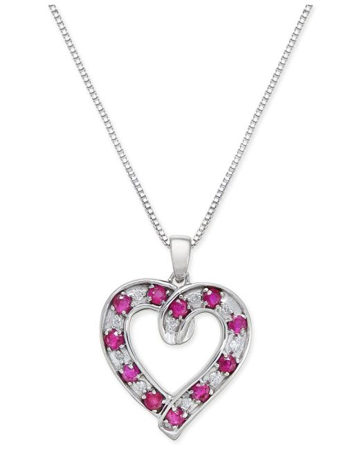 Macy's - Metallic Ruby (1-1/10 Ct. T.w.) And Diamond (1/10 Ct. T.w.) Heart Pendant Necklace In Sterling Silver - Lyst