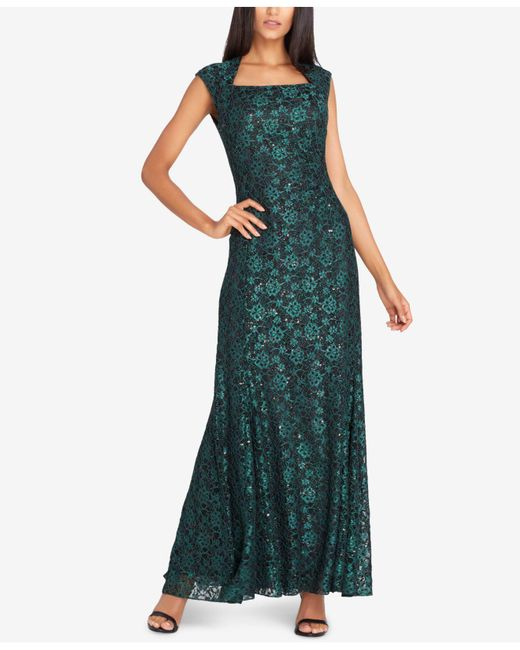 Tahari - Green Sequined Lace Gown - Lyst