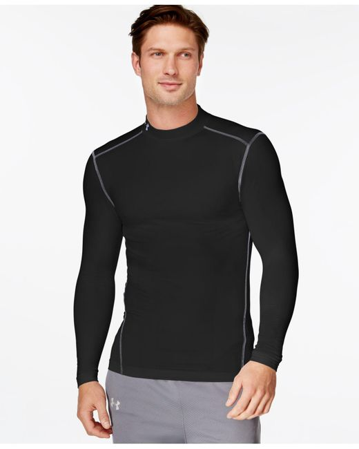 Under Armour   Black Mock Neck Long-sleeve T-shirt for Men   Lyst