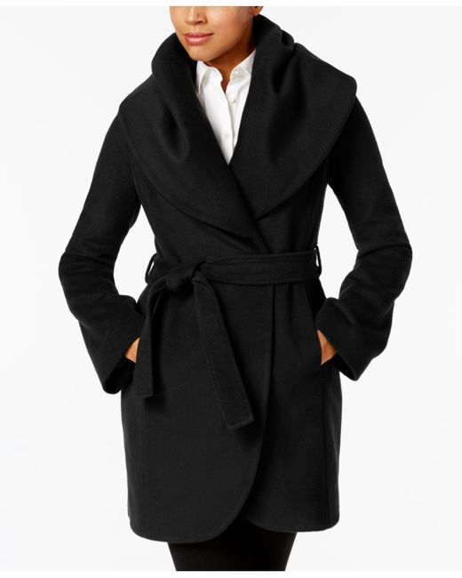 T Tahari | Black Marla Shawl-collar Wrap Coat | Lyst