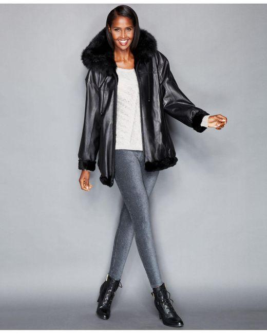 The Fur Vault - Black Leather & Rabbit Fur Reversible Hooded Jacket - Lyst