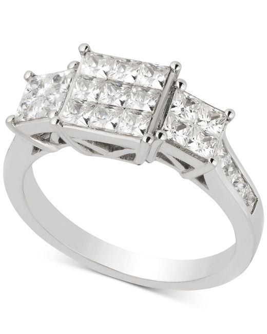Macy's - Metallic Diamond Princess Cluster Engagement Ring (1-1/2 Ct. T.w.) In 14k White Gold - Lyst