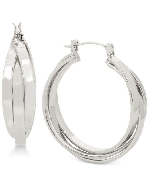 Touch Of Silver   Metallic Triple Hoop Earrings In Silver-plating   Lyst