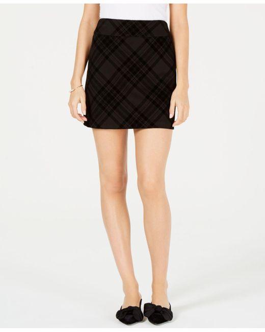Maison Jules - Black Flocked-plaid Mini Skirt, Created For Macy's - Lyst