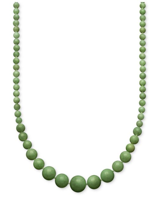 Macy's | Metallic Jade Graduated Strand Necklace In 14k Gold (6-14mm) | Lyst