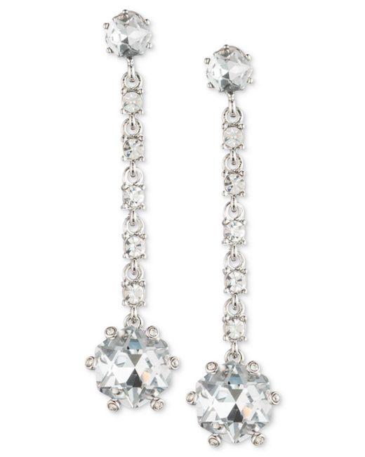 Carolee | White Silver-tone Crystal Linear Drop Earrings | Lyst