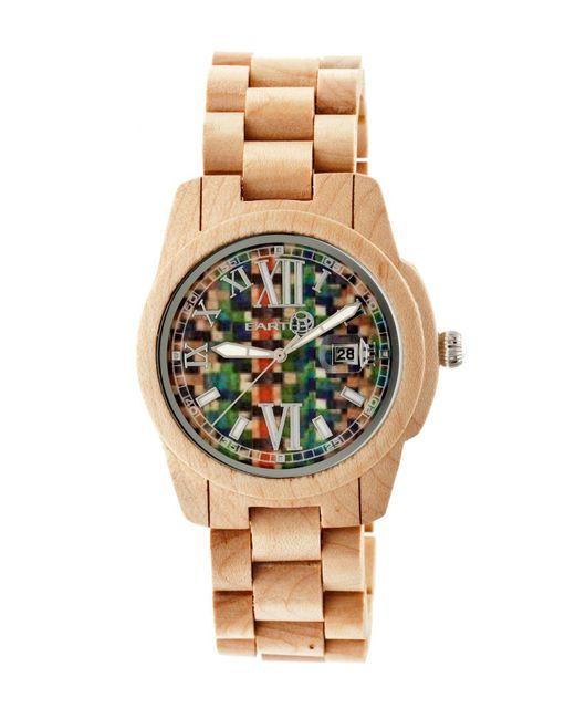 Earth Wood - Metallic Heartwood Wood Bracelet Watch W/date Khaki 43mm - Lyst
