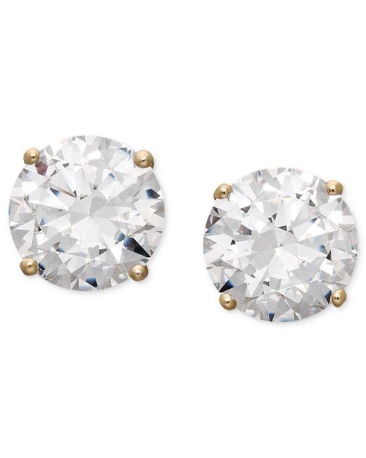 Arabella - Metallic 14k Gold Earrings, Swarovski Zirconia Round Stud Earrings (6-5/8 Ct. T.w.) - Lyst