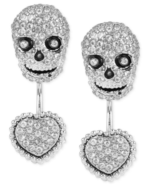 Betsey Johnson | Metallic Silver-tone Pavé Skull And Heart Front-back Earrings | Lyst