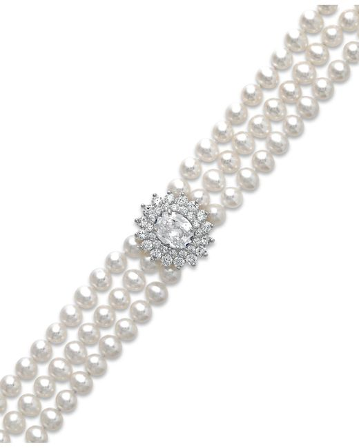 Arabella | Metallic Cultured Freshwater Pearl (5mm) And Swarovski Zirconia Bracelet In Sterling Silver | Lyst