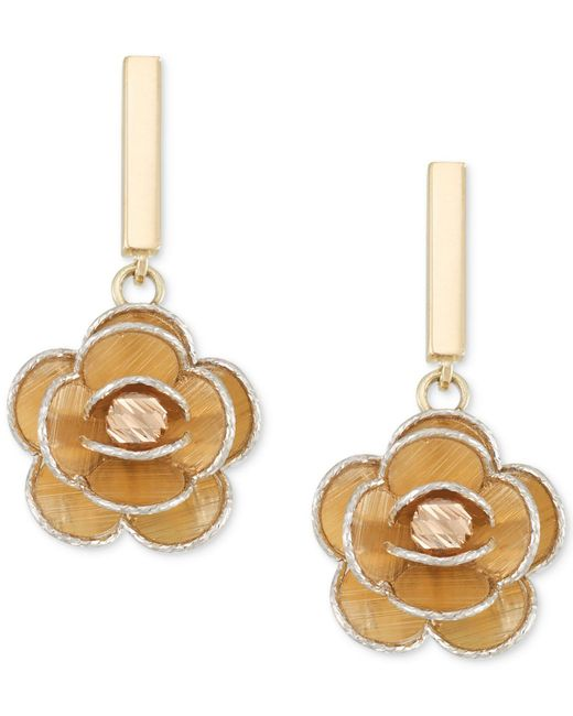 Macy's - Metallic Tri-colour Flower Drop Earrings In 14k Gold, White Gold & Rose Gold - Lyst
