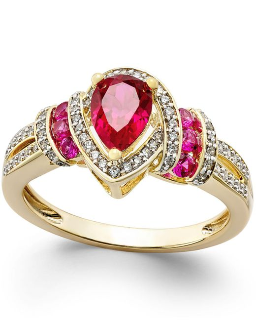 Macy's | Red Certified Ruby (1 Ct. T.w.) And Diamond (1/4 Ct. T.w.) Ring In 14k Gold | Lyst