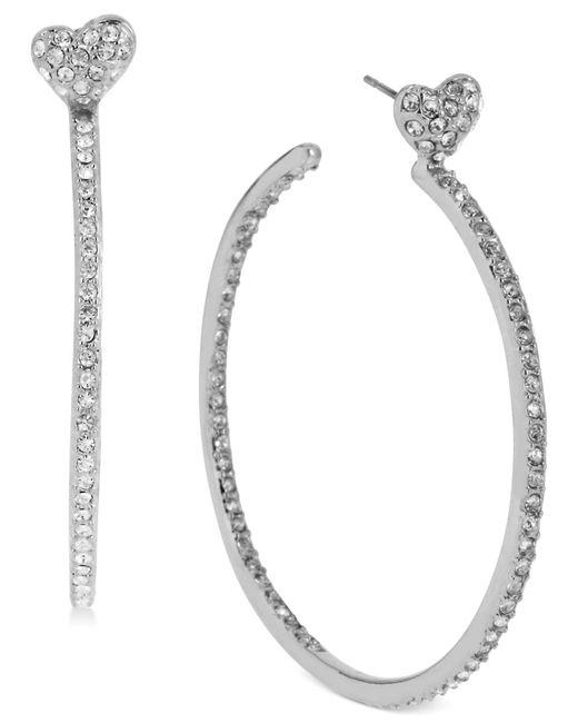 Betsey Johnson   Metallic Silver-tone Crystal Heart Hoop Earrings   Lyst