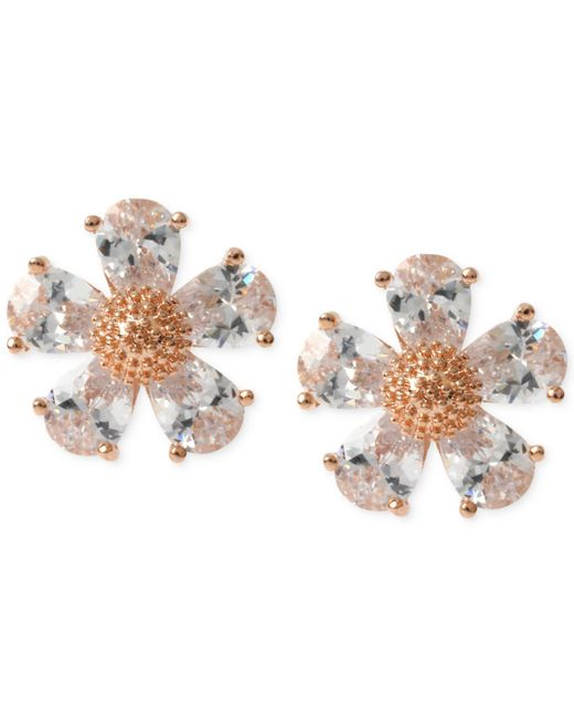 Betsey Johnson | Metallic Gold-tone Crystal Flower Stud Earrings | Lyst