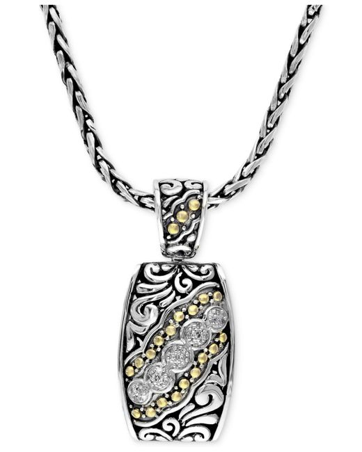 Effy Collection - Metallic Diamond Etched Pendant (1/10 Ct. T.w.) In Sterling Silver And 18k Gold - Lyst
