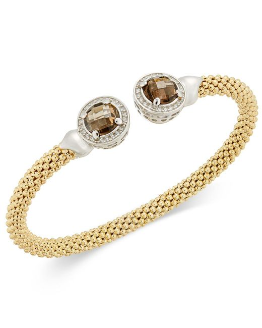 Macy's | Metallic Smoky Quartz (4-3/4 Ct. T.w.) & Diamond (1/3 Ct. T.w.) Mesh Cuff Bracelet In 14k Gold-plated Sterling Silver | Lyst