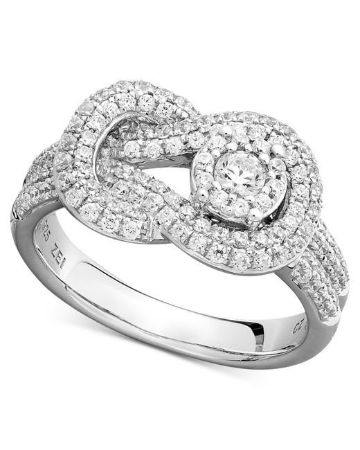 Macy's | Diamond Pave Knot Ring In 14k White Gold (3/4 Ct. T.w.) | Lyst