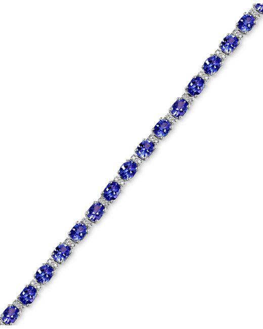 Effy Collection - Blue Tanzanite (8-7/8 Ct. T.w.) And Diamond (1/4 Ct. T.w.) Tennis Bracelet In 14k White Gold - Lyst