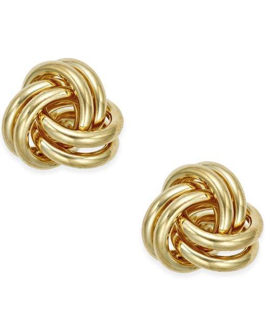 Macy's - Metallic Love Knot Stud Earrings In 10k Gold - Lyst