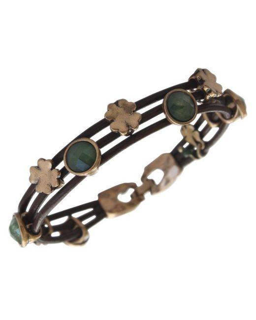 Lucky Brand | Metallic Bracelet, Gold-tone Jade Stone Woven Leather Bracelet | Lyst