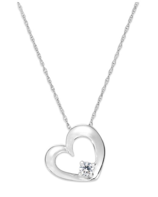 Macy's - Metallic Diamond Heart Solitaire Pendant Necklace In 14k White Gold (1/10 Ct. T.w.) - Lyst