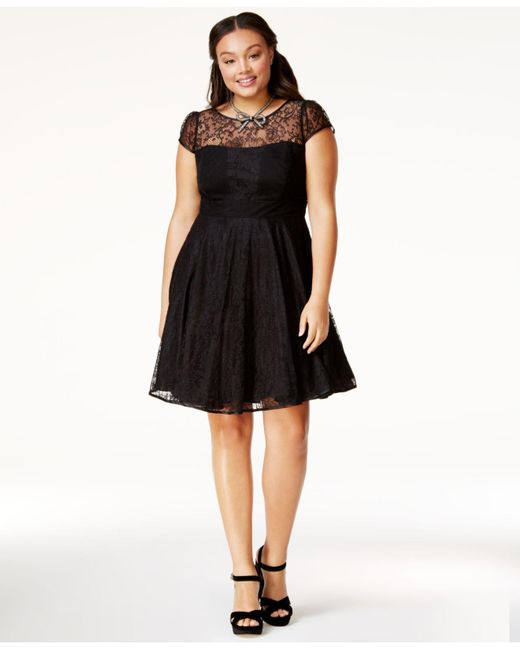 Lyst City Chic Trendy Plus Size Lace A Line Dress In Black Save