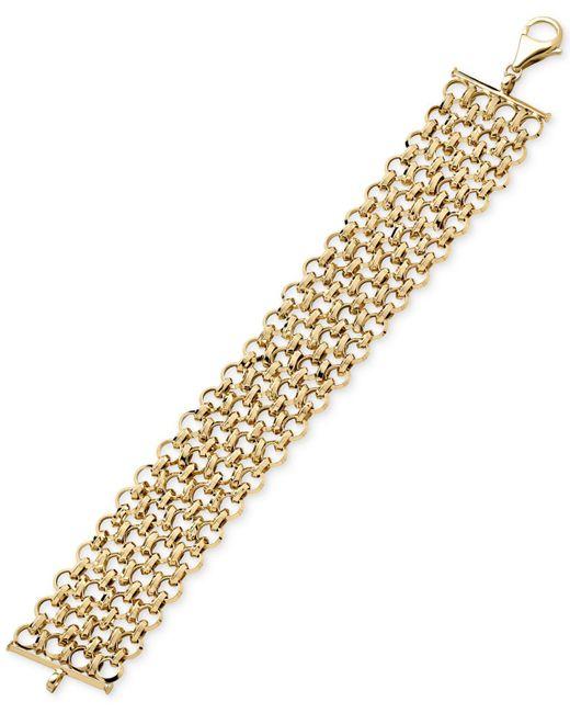 Macy's | Metallic Interlocking Chain Bracelet In 14k Gold | Lyst