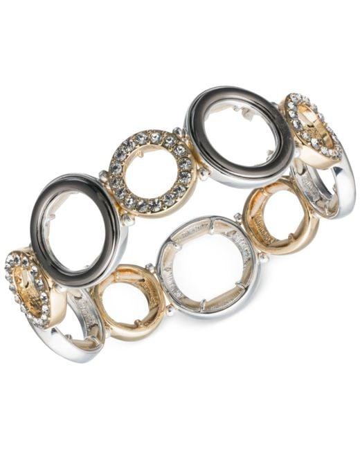 Nine West | Metallic Tri-tone Pavé Accented Circle Stretch Bracelet | Lyst