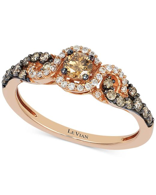 Le Vian - Pink Diamond Three-stone Ring In 14k Rose Gold (1/2 Ct. T.w.) - Lyst