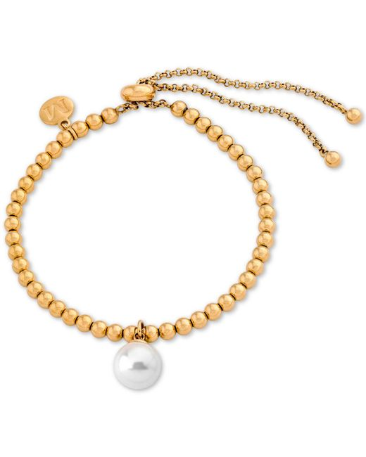 Majorica - Metallic Gold-tone Imitation Pearl Charm Beaded Slider Bracelet - Lyst