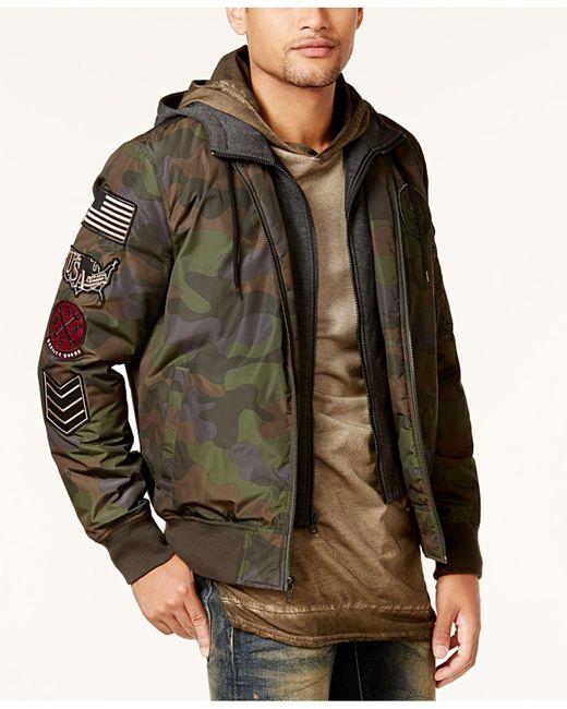 American Rag | Multicolor Men's Hooded Camo Bomber Jacket for Men | Lyst