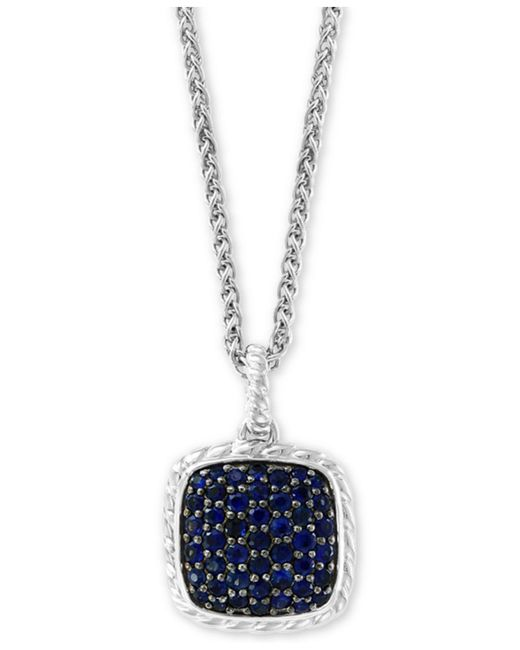 "Effy Collection - Metallic Effy® Sapphire Cluster 18"" Pendant Necklace (1-1/2 Ct. T.w.) In Sterling Silver - Lyst"
