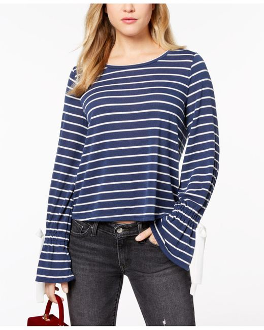 Maison Jules - Blue Striped Bell-sleeve Sweater, Created For Macy's - Lyst