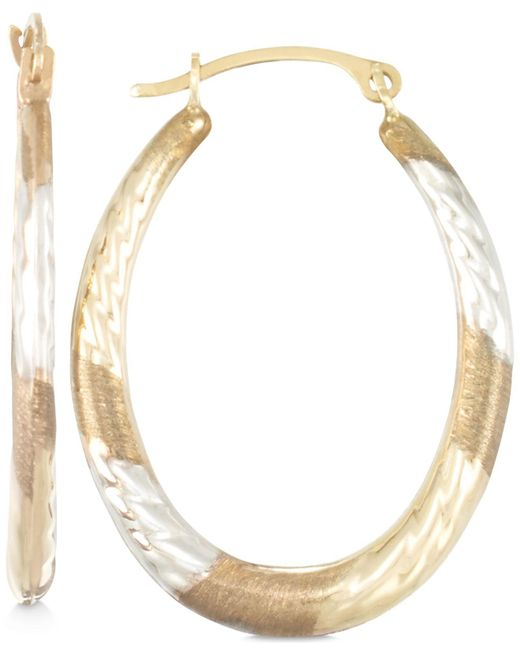 Macy's - Metallic Tri-tone Textured Oval Hoop Earrings In 10k Yellow, White And Rose Gold - Lyst