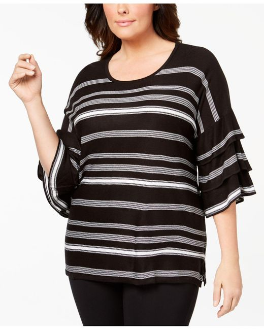CALVIN KLEIN 205W39NYC - Black Plus Size Ruffle-sleeve Striped Sweater - Lyst