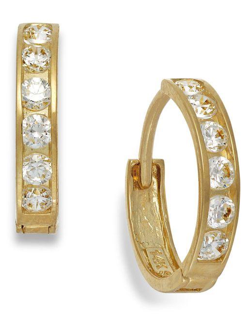 Macy's - Metallic Cubic Zirconia Hoop Earrings In 10k Gold - Lyst
